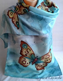 "Silk scarf ""Heaven's butterfly"""